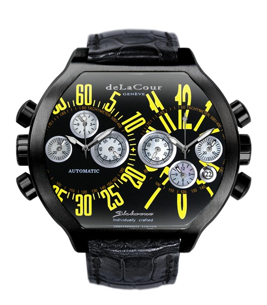 Replica DeLaCour BiChrono S2 Steel PVD Black and Yellow WAST2236-0980 Replica Watch