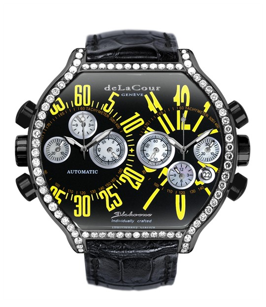 Replica DeLaCour BiChrono S2 Steel PVD Diamond bezel Black and Yellow WAST2237-0980 Replica Watch