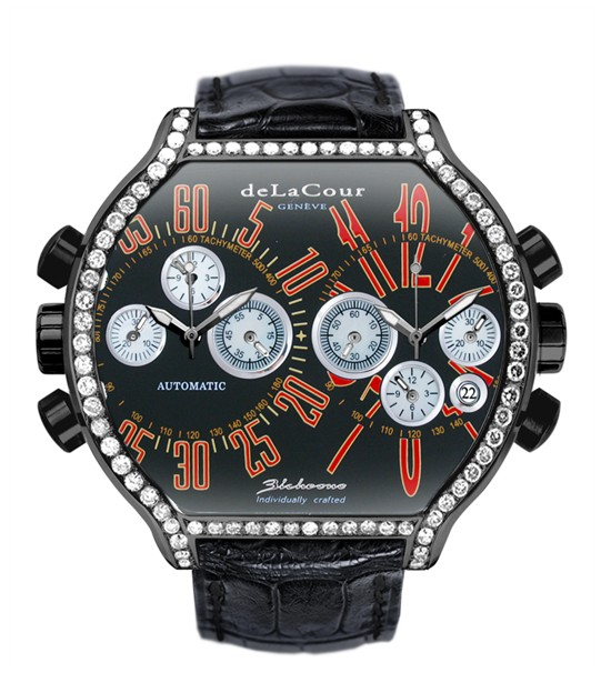 Replica DeLaCour BiChrono S2 Steel PVD Diamond bezel Black and Red WAST2237-0982 Replica Watch