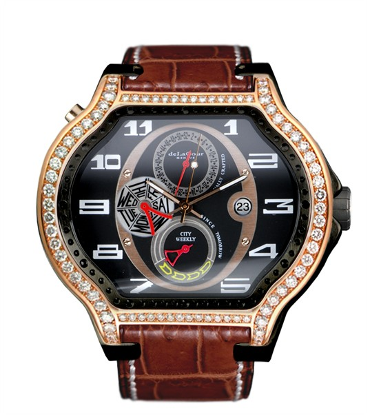 Replica DeLaCour City Ego Weekly Ti/PVD/Rose Gold/Diamonds WATP0051-1217 Replica Watch