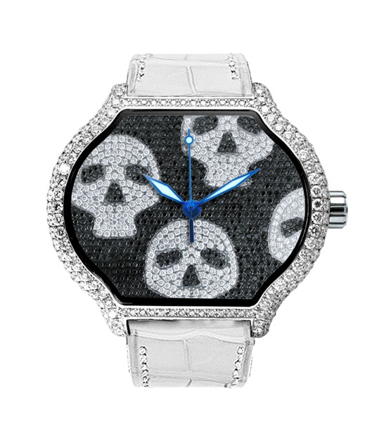 Replica DeLaCour City Medium Heart Rider Skulls White Gold Full Diamond WAWG1086-1008 Replica Watch