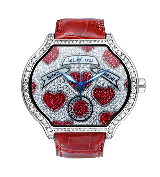 Replica DeLaCour City Medium Heart Rider Hearts White Gold WAWG1088-1005 Replica Watch