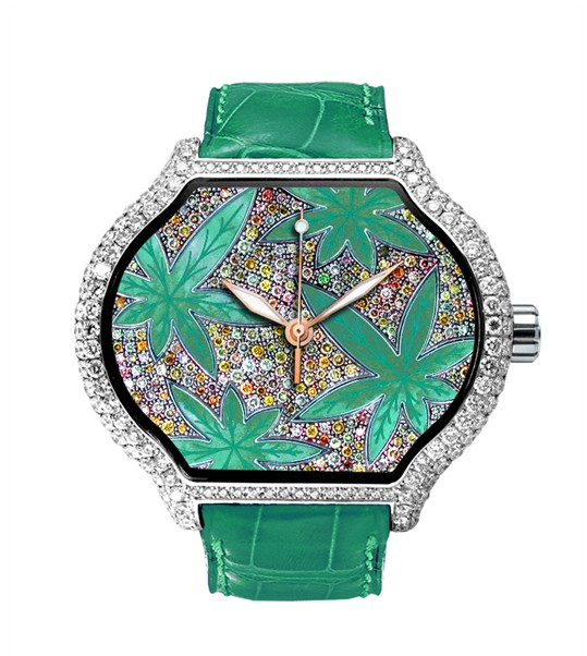 Replica DeLaCour City Medium Heart Rider Hemp White Gold Full Diamonds WAWG1096-0999 Replica Watch