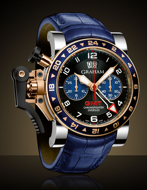 Graham London Chronofighter Oversize GMT Steel & Gold / Gold - 2OVGG.B26A Men Copy Watch