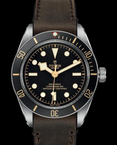 Replica Tudor Watch BLACK BAY FIFTY EIGHT M79030N-0002 Steel - Black Dial - Leather Strap