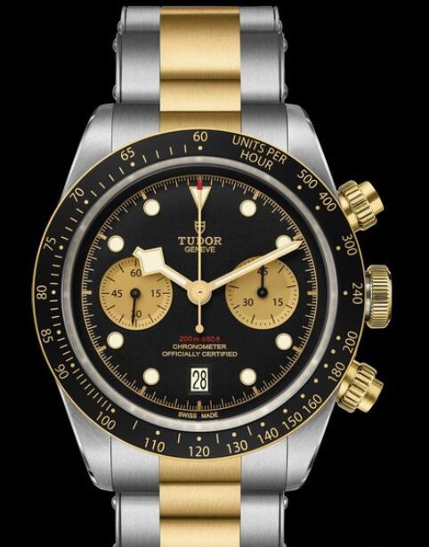 Tudor Replica Watch Black Bay Chrono S&G M79363N-0001 Steel - Black Dial - Bracelet Steel and Yellow Gold