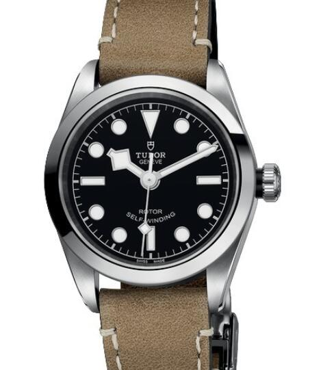 Replica Tudor Watch Women BLACK BAY 32 M79580-0002 Steel - Black Dial - Beige Leather Strap