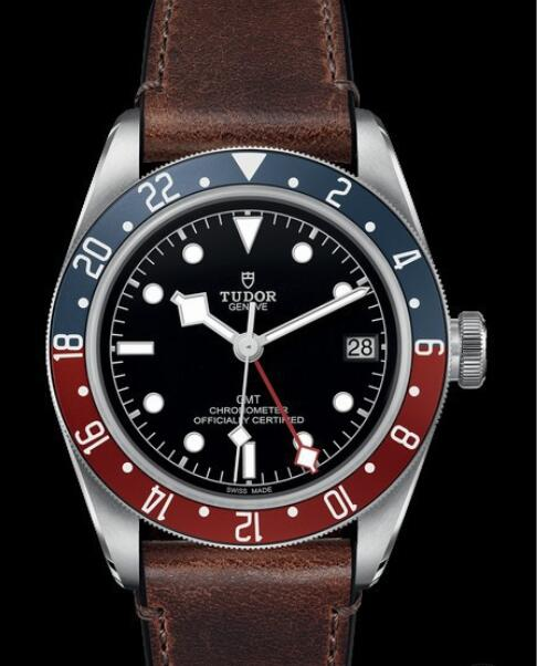 Replica Tudor Watch BLACK BAY GMT M79830RB-0002 Steel - Black Dial - Leather Strap