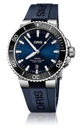 Swiss Luxury Replica ORIS AQUIS DATE BLUE DIAL ON BLUE RUBBER STRAP watch 01-733-7730-4135-07-4-24-65eb