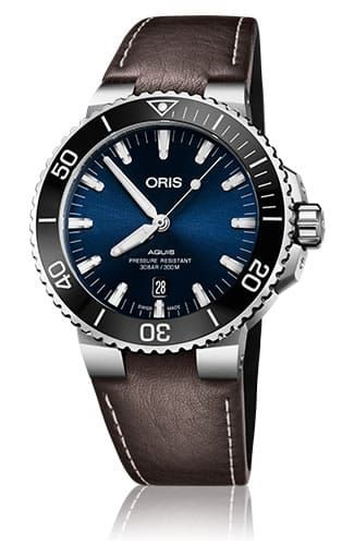 Swiss Luxury Replica ORIS AQUIS DATE BLUE DIAL ON BROWN LEATHER STRAP watch 01-733-7730-4135-07-5-24-10eb