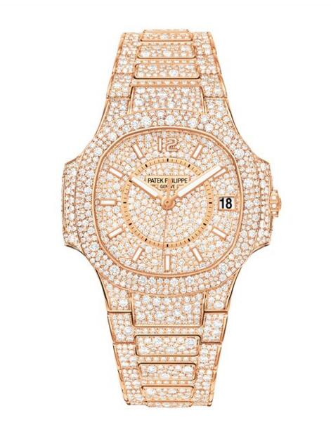 Cheap Patek Philippe Nautilus Full Diamond Rose Gold Watch 7021/1R-001