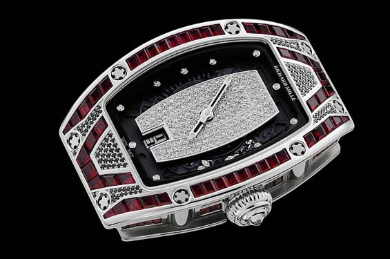 Replica Richard Mille RM 007 White Gold Pavé Red and Black and White Watch