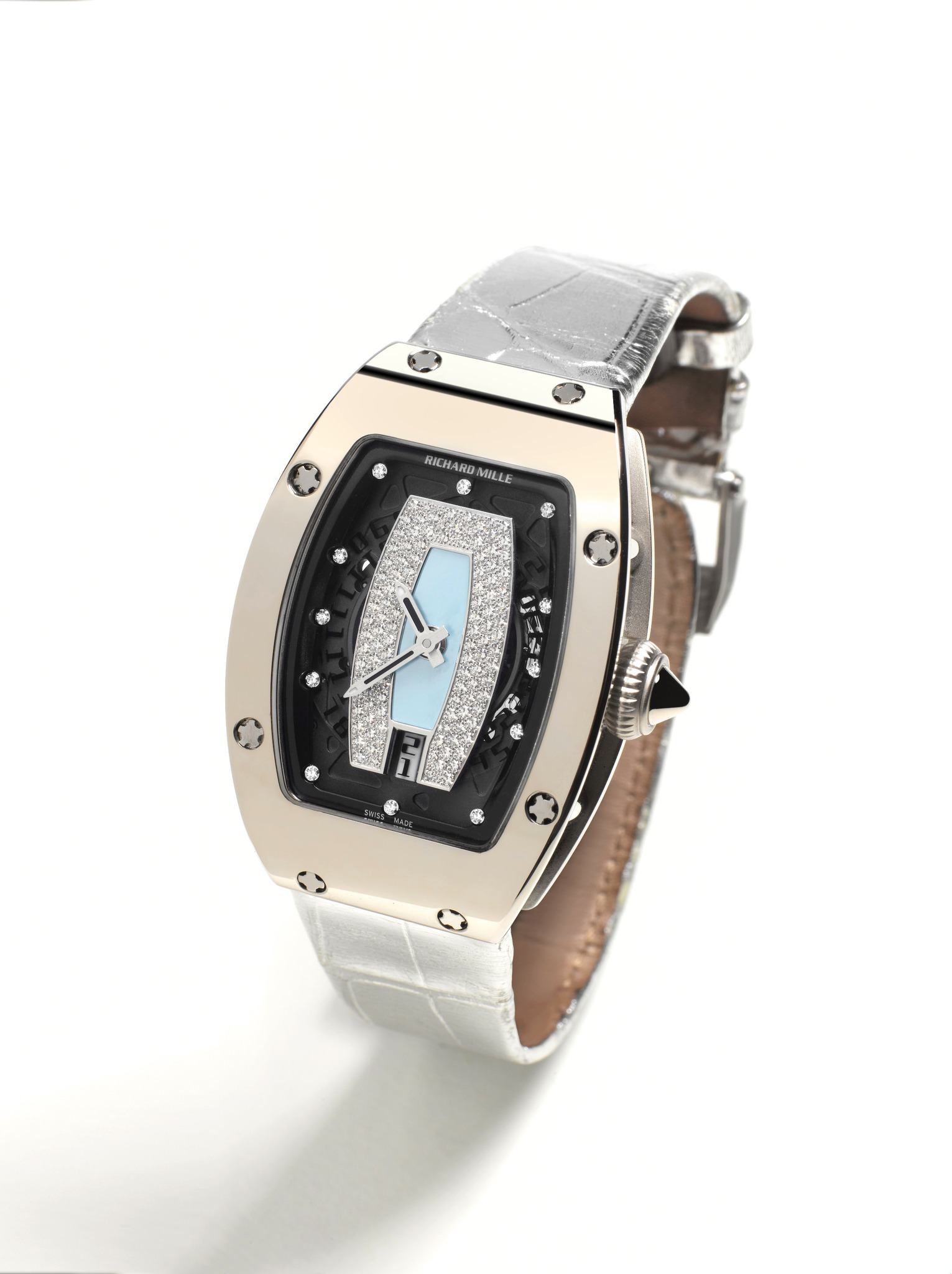 Replica Richard Mille RM 007 White Gold and Silver Alligator Watch