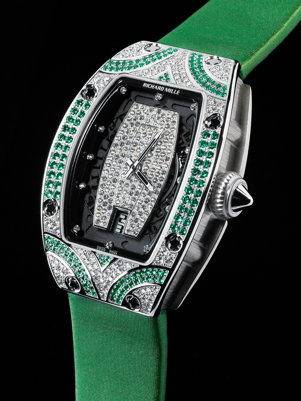 Replica Richard Mille RM 007 white gold set emeralds and diamonds Watch