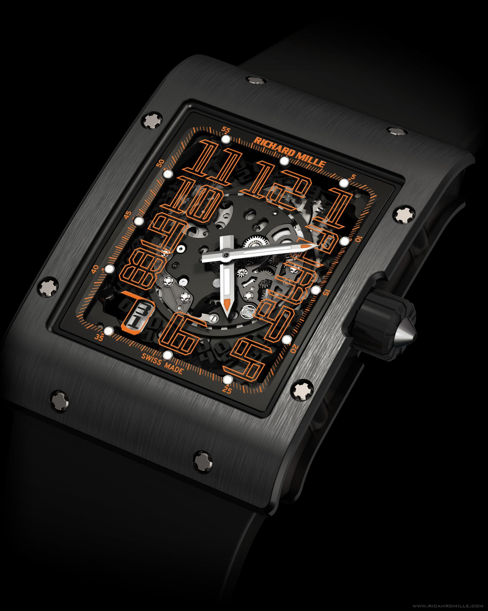 Replica Richard Mille RM 016 Automatic America Orange Black Titanium Watch