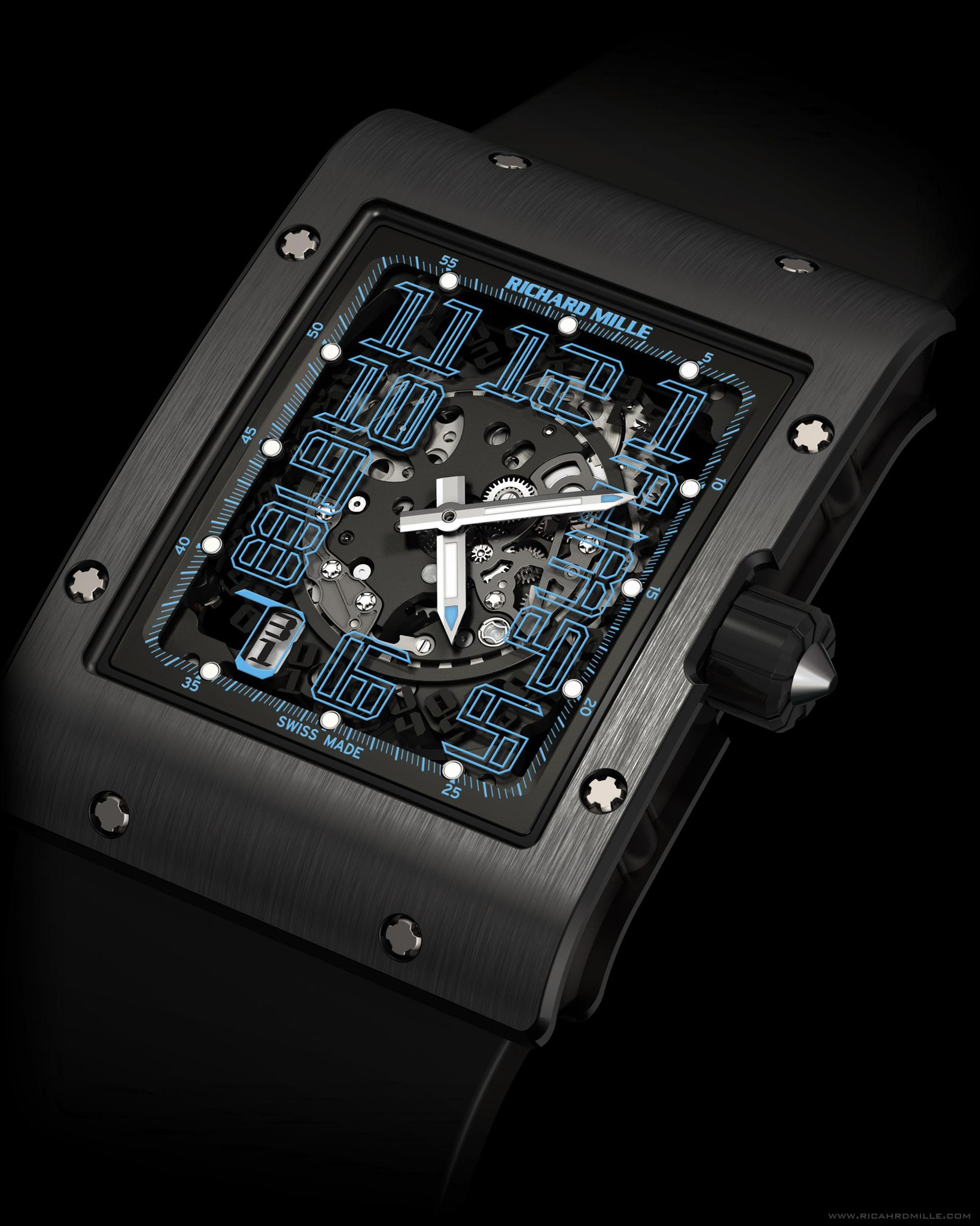 Replica Richard Mille RM 016 Automatic Argentina Blue Black Titanium Watch
