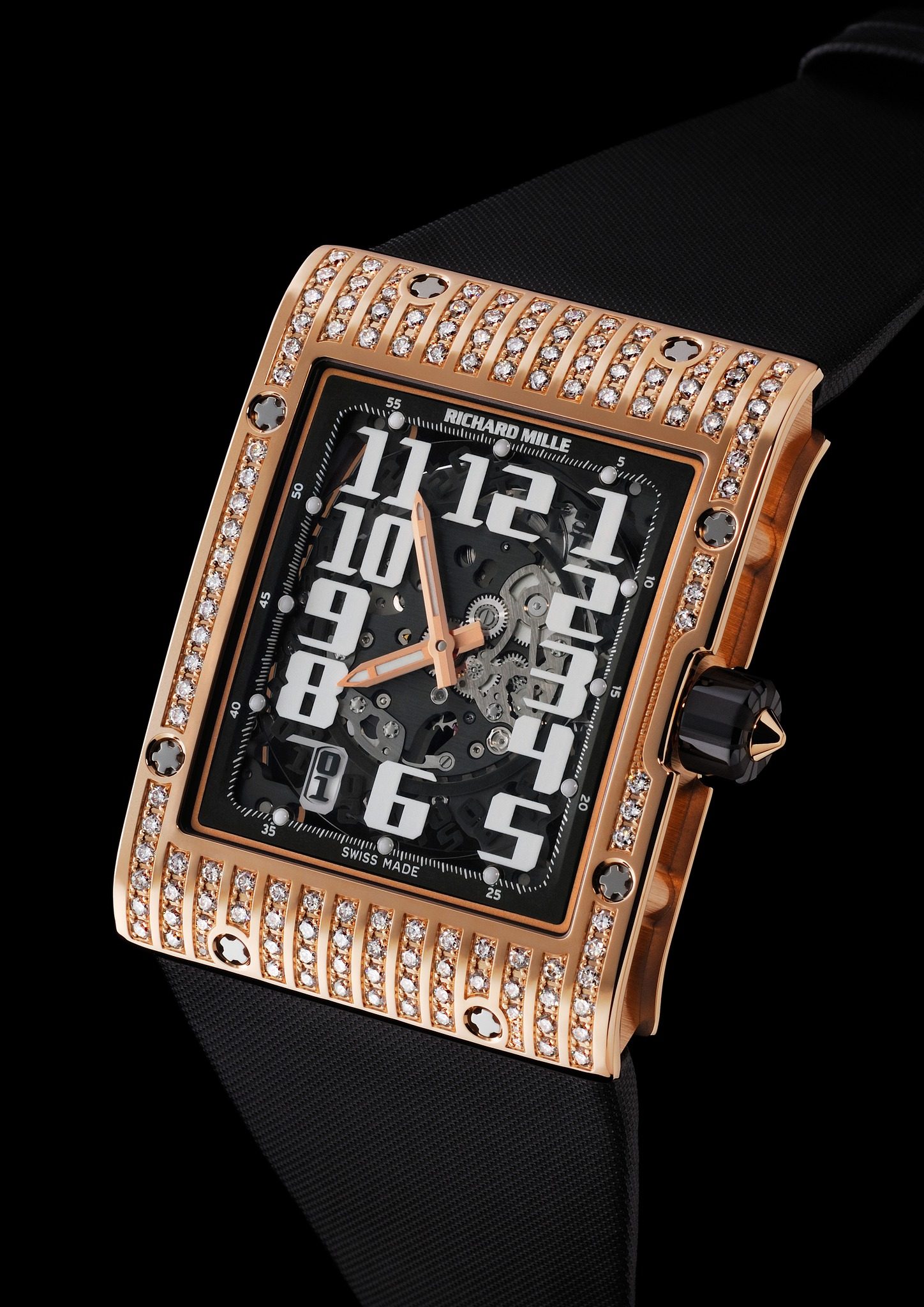 Replica Richard Mille RM 016 Automatic Diamonds Red Gold Watch