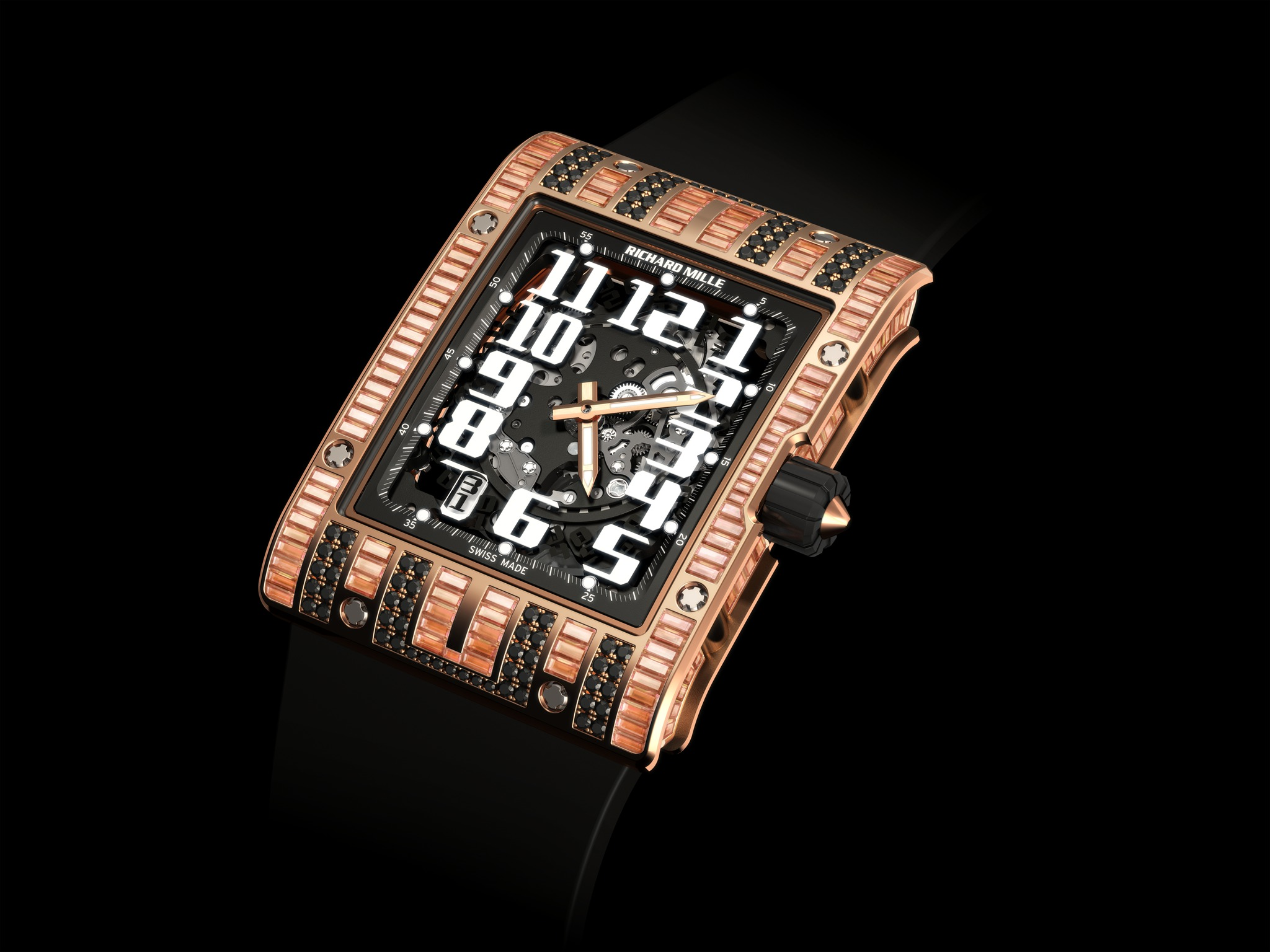 Replica Richard Mille RM 016 Automatic Mixte Diamonds Red Gold Watch
