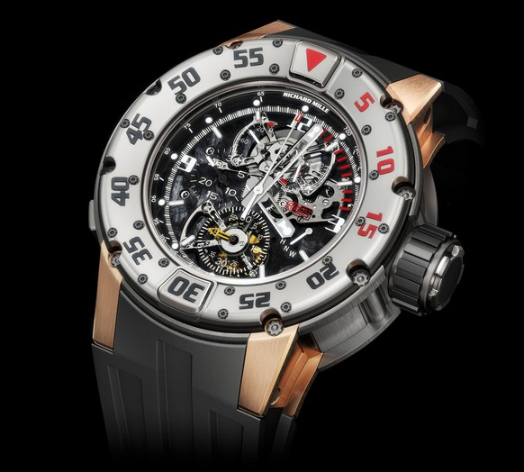 Replica Richard Mille RM 025 Diver Chronograph Titanium and Pink Gold Watch