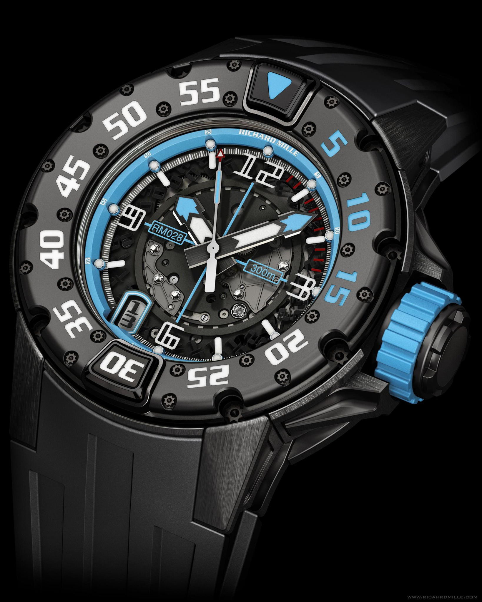 Replica Richard Mille RM 028 Diver Argentina Black Titanium Watch
