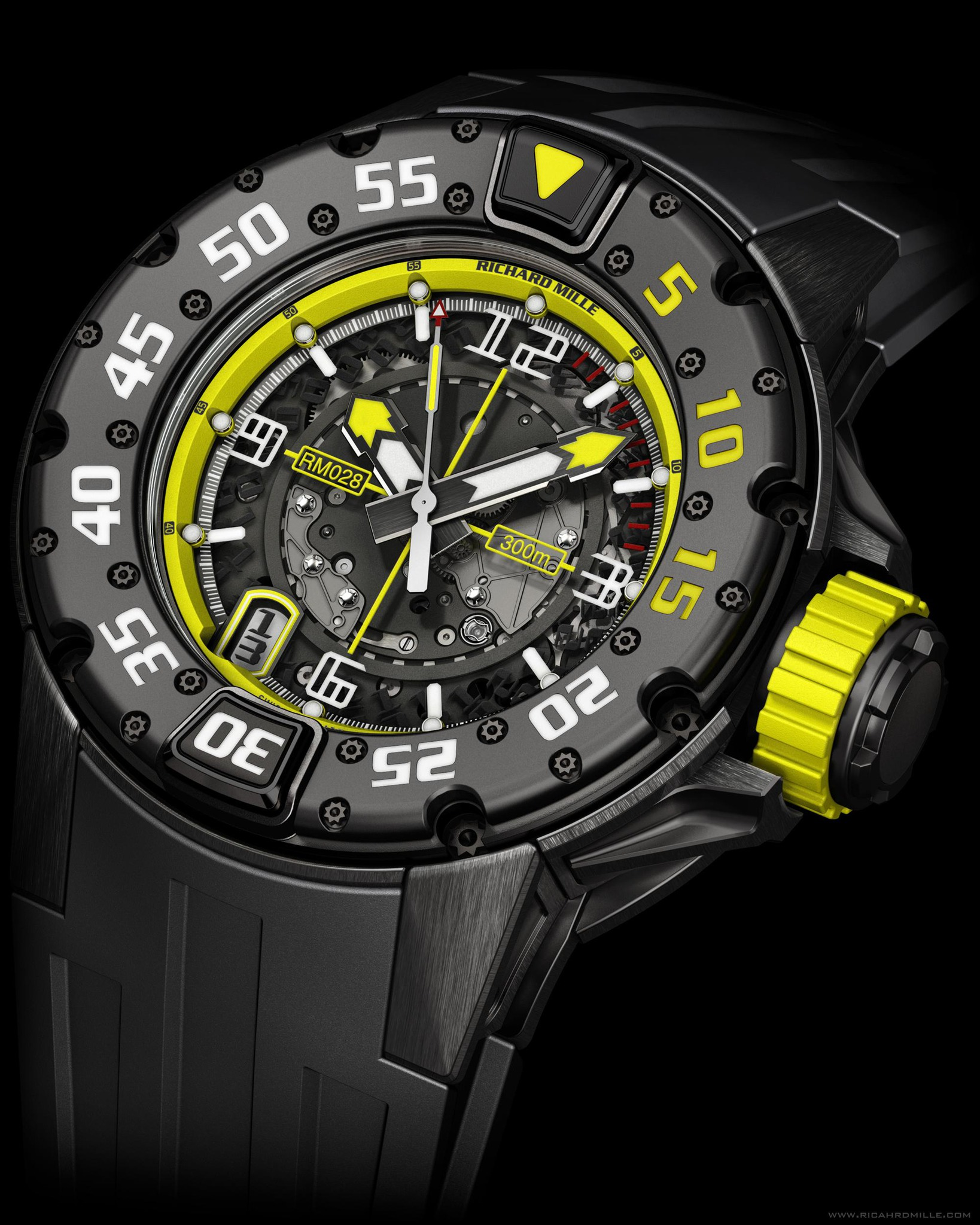 Replica Richard Mille RM 028 Diver Brazil Black Titanium Watch