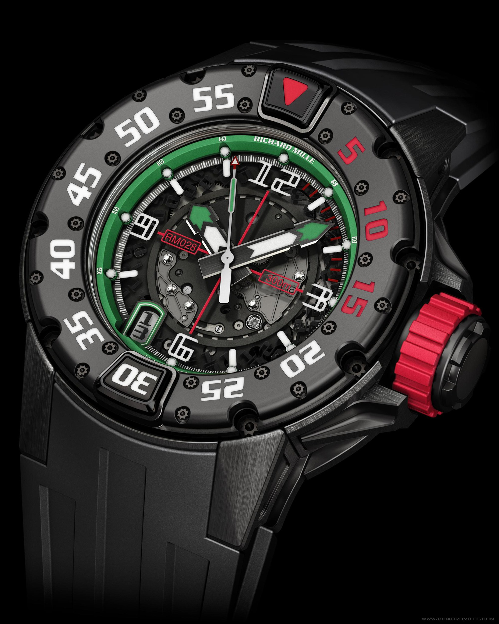 Replica Richard Mille RM 028 Diver Mexico Black Titanium Watch
