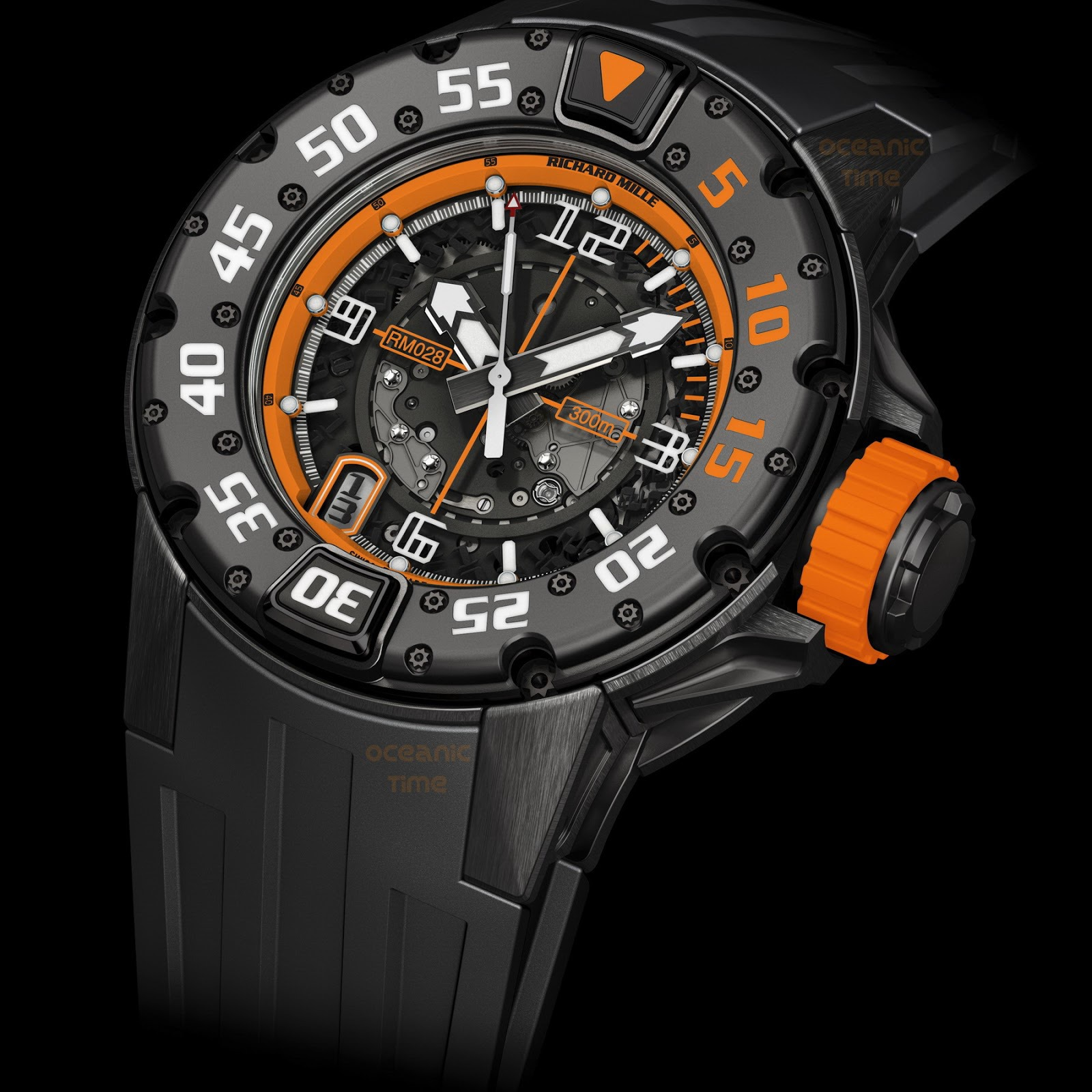 Replica Richard Mille RM 028 Diver Orange Flash Black Titanium Watch