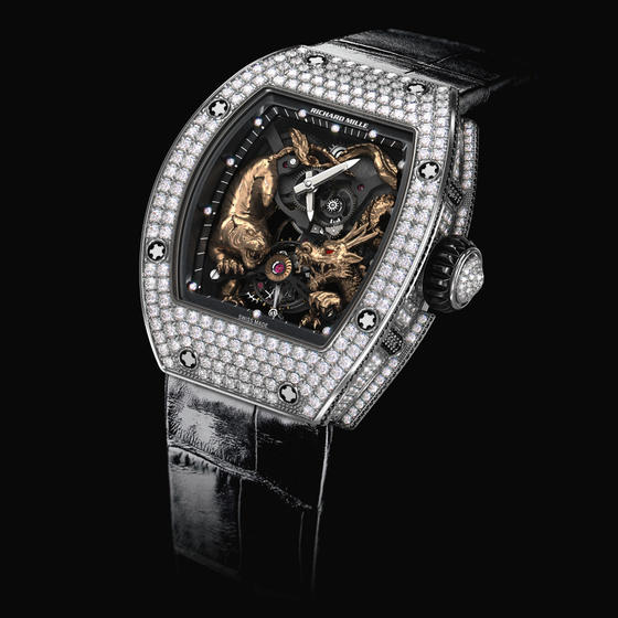 Replica 2014 New Richard Mille RM 051-01 Tourbillon Tiger and Dragon Michelle Yeoh Pavé White Gold Watch