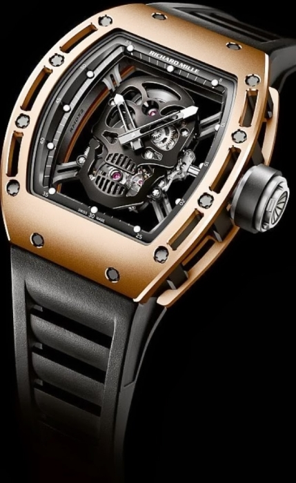 Replica Richard Mille RM 052 Rose Gold Black Skull DLC limited edition 552.04B Watch