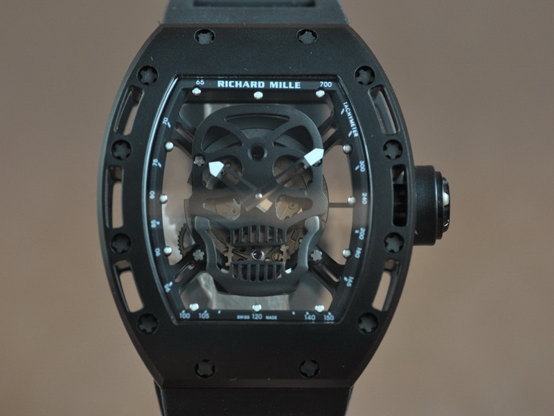 Replica Richard Mille RM 052 Tourbillon Skull steel Watch
