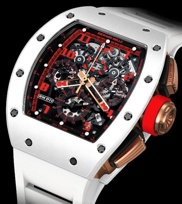 Replica Richard Mille 2014 NEW RM011 White Demon features Fiery red details that accent the dial Watch
