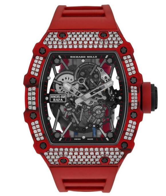 Buy Replica 2018 Richard Mille Rafael Nadal Diamond Studded 49MM Red Quartz TPT Automatic Watch RM 35-02