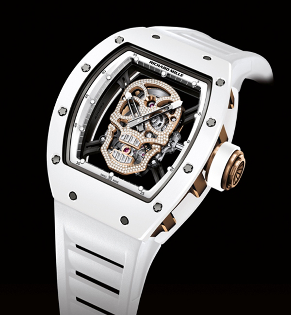 Replica Richard Mille RM052 Gold white skull Toutuo flywheel Watch