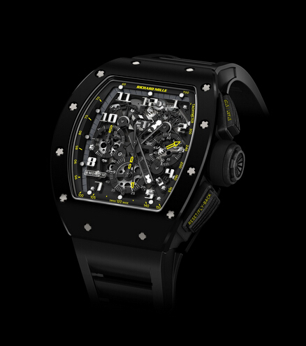 Replica Richard Mille RM011 2015 RM 011 Flyback Chronograph Yellow Flash TZP Black Ceramic and NTPT Carbon Men Watch
