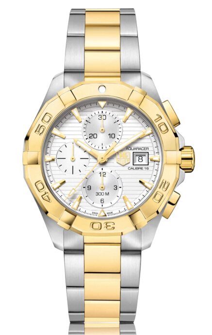 Buy Discount TAG Heuer Aquaracer Automatic Gold Plated Silver Dial Mens Watch CAY2121.BB0923
