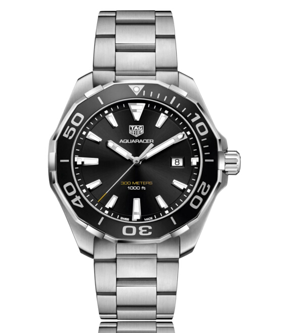 Buy Discount Tag Heuer Aquaracer Quartz Stainless Steel Black Dial Mens Watch WAY101A.BA0746