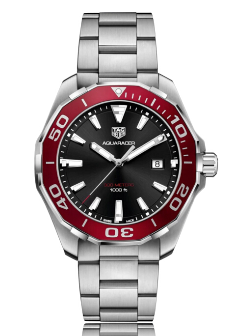 Buy Discount Tag Heuer Aquaracer Quartz Stainless Steel Black Dial Mens Watch WAY101B.BA0746