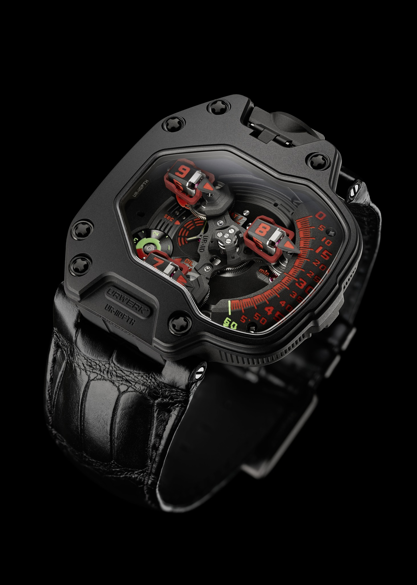 Replica Urwerk UR-110 PTH Black DLC Titanium and Black Platinum Watch