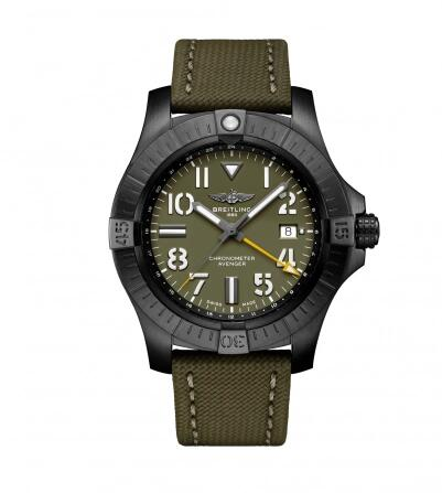 Breitling Avenger Automatic GMT 45 Night Mission Green Military Pin Replica Watch V323952A1L1X1