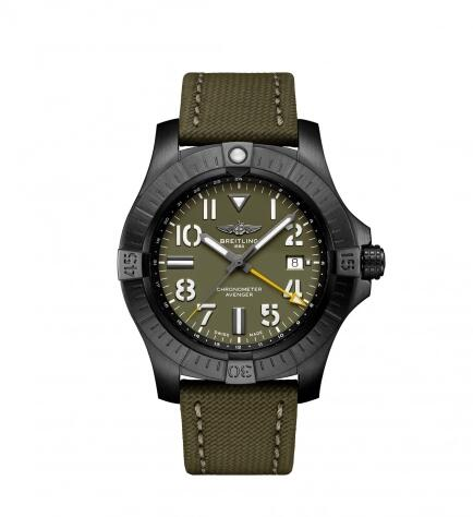 Breitling Avenger Automatic GMT 45 Night Mission Green Military Folding Replica Watch V323952A1L1X2
