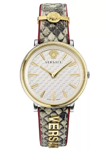 Cheap Versace Women's Swiss V Circle Logomania Edition Elaphe Leather Strap Watch 38mm Replica