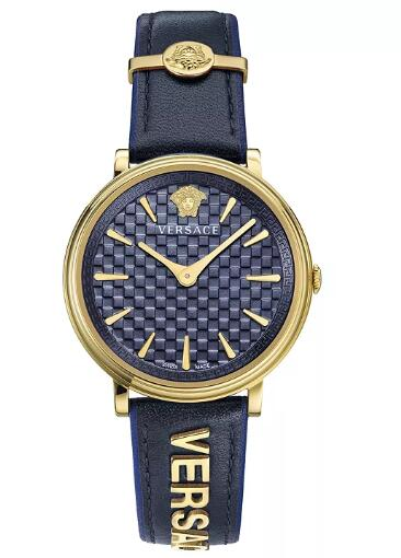 Cheap Versace Women's Swiss V Circle Logomania Edition Black Leather Strap Watch 38mm Replica