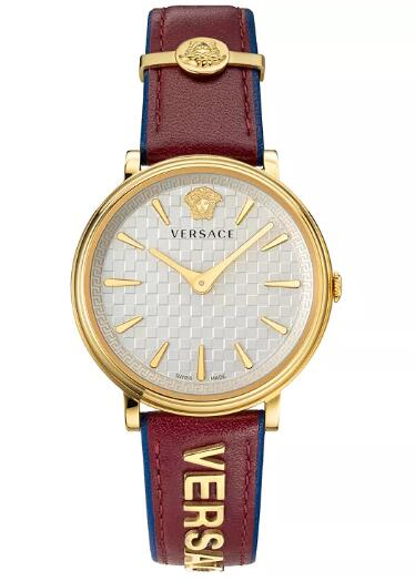 Cheap Versace Women's Swiss V-Circle Logomania Red Calf Leather Strap Watch 38mm Replica