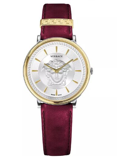 Cheap Versace Women's Swiss V-Circle Red Leather Strap Watch 38mm Replica