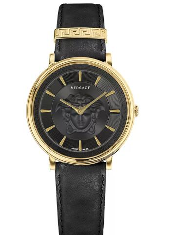 Cheap Versace Women's Swiss V-Circle Black Leather Strap Watch 38mm Replica