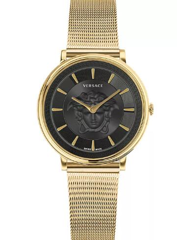 Cheap Versace Women's Swiss V-Circle Gold Ion-Plated Stainless Steel Mesh Bracelet Watch 38mm Replica