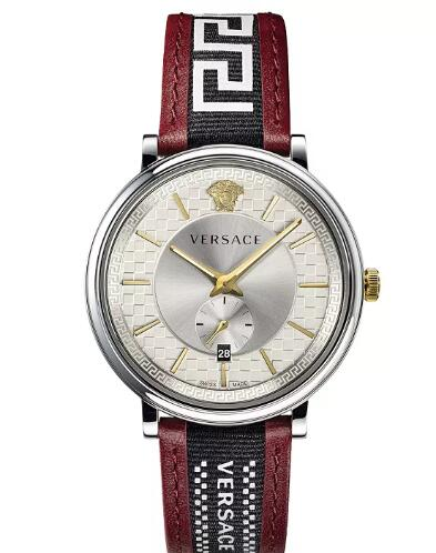 Cheap Versace Men's Swiss V Circle Greca Edition Burgundy Leather Strap Watch 42mm Replica