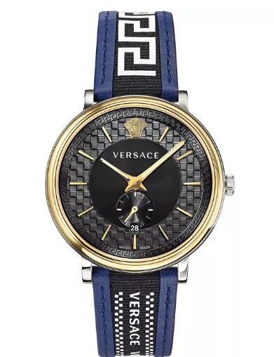 Cheap Versace Men's Swiss V Circle Greca Edition Blue Leather Strap Watch 42mm Replica