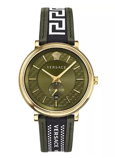 Cheap Versace Men's Swiss V Circle Greca Edition Green Leather Strap Watch 42mm Replica