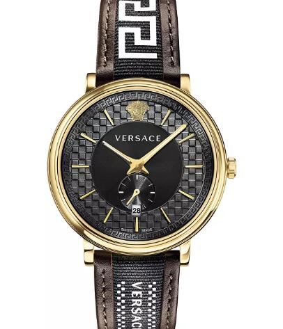 Cheap Versace Men's Swiss V Circle Greca Edition Brown Leather Strap Watch 42mm Replica